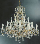 19th Century Style 18 Light Hale Chandelier with Crystal Drop