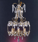 Floral Drum Style 3 Light Crystal Chandelier.