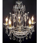 Antique Pristine Crystal Drop 5 Light Chandelier.