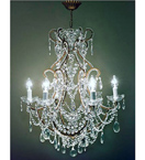 Elegant Modern Crystal Drop 6 Light Chandelier.