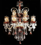Murano Glass Tiered 12 Light Antique Style Chandelier.