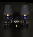 2 Arm Blue Tones Wall Light with Shades