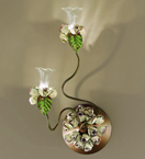 Roseto Design wall lamp With Painted Rose Details & Clear Glass