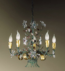 Malva Design Chandelier with Crystal Flowers
