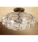 Soffiati design flush chandelier with blown glass inside
