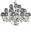 Paris Design Chrome Framed 3 Tier Chandelier with Black Rose Details