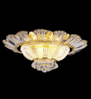 Surface mounted 12 light flower petal detailed crystal chandelier
